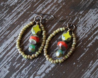 Unlisted - Earthy Hoop Earrings - Hoops - Beaded Dangle Earrings - Boho - Rustic - Bead Soup Jewelry