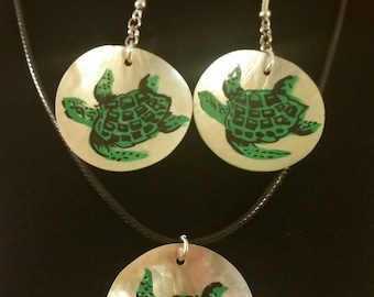 Hand Painted Turtle on Shell Necklace and/or Dangle Earrings Gift Boxed with Ornate Organza Gift Bag!