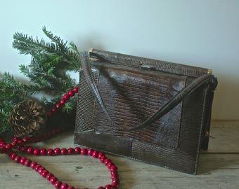Classic Vintage Brown Faux Alligator Handled Hand Bag
