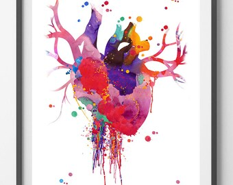 Heart Anatomy Watercolor Print Abstract Medical Art The Human Heart Poster Anatomy Art Illustration Anatomical heart print science art gift