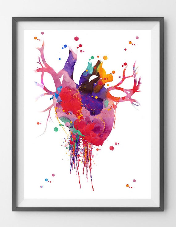 Heart Anatomy Watercolor Print Abstract Medical Art The Human