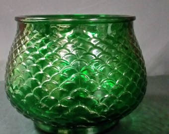 Vintage E O Brody green vase, planter. With glass flower frog.