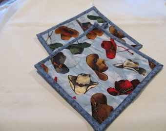 Cowboy Hats Potholder: Blue, Quilted Insulbrite, Western Decor, Country, Sheriff, Ready to Ship, Great gift