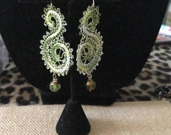 Lacy Green Pierced Earrings With A Crystal Drop