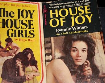 2 vintage paperback book house of joy + joy house girls 1960 prostitution sleaze