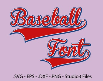 Baseball Font Vectors Alphabet cutting files /  .eps, .svg, .dxf, png and studio3 Files.