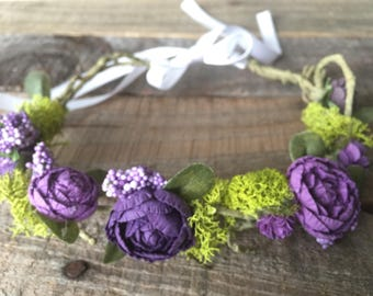 Flower Girl Floral Crown, available in Purple, and White