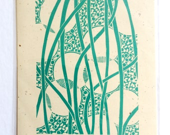 linocut - WEAVING II // 8x10  art print // printmaking // block print // turquoise // blue green // original art // line, pattern