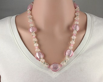 Pink Lampwork Necklace, Pink Glass Necklace, Pink and Silver Necklace, Handmade Bead Necklace, Lampwork Beaded Necklace, Lampwork Necklace