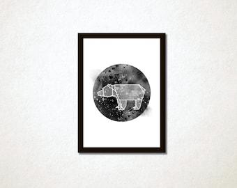 "Geometric origami bear printable poster 8x10"". Modern minimalist chic design."