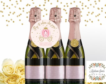 POP IT when She Pops mini Champagne Bottle Favor Tag, Customized Printable, Baby Shower Champagne Bottle Tag, 3 in CARRIAGE Girl Circle Tag