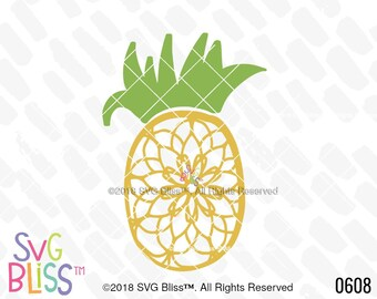 Pineapple Mandala SVG, Summer, Tropical, Cute, Girl, Hand Drawn, Cricut & Silhouette Compatible Cutting File, DXF, SVG Bliss Design File
