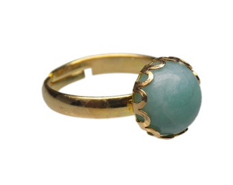 10mm Round Genuine Amazonite Gemstone Cabochon Gold Plated Adjustable / Expandable Ring