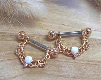 White Opal Rose Gold 14g or 16g Nipple Shield Nipple Ring Nipple Piercing