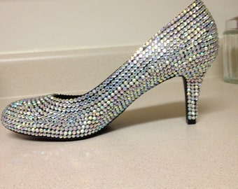 Clear Aurora Borealis Crystallized Low Heel Pumps