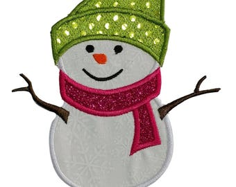 Snow man with green hat and pink scarf Holiday machine embroidered fabric iron on no sew patch, holiday patch for kids clothing