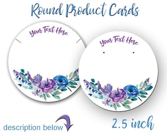 Earring Cards,  Jewelry Cards, Necklace Display Cards,  Custom Cards,  Floral Design, Product Tags,  Personalized Jewelry Cards