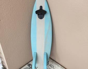 Blue and white surfboard bottle opener