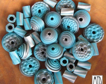 MTD - Polymer Clay Bead Set - Teal and Silver Flying Saucer Beads