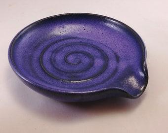 Spoon rest, purple spoon rest, pottery spoon rest