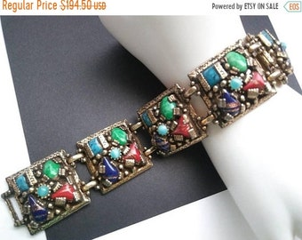 ON SALE Sensational Selro Rhinestone Bracelet Colorful High End 1940s 1950s Classic Rare Hard To Find Vintage Jewelry Blue Green Red Stones