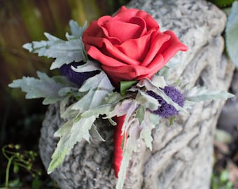 Artificial Red and Purple Thistle Buttonhole /Boutonniere/Corsage wedding ,prom Groom, Bestman, Groomsmen, Ring bearer