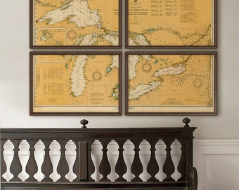 "Great Lakes map, 1929, Large vintage nautical chart of Great Lakes, in 5 sizes up to 72x48"" in 1 or 4 parts - Limited Edition of 100"