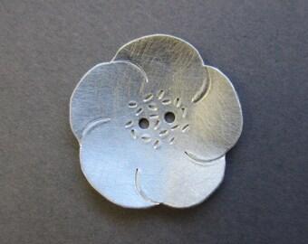 Flower Button silvertone metal 1 inch artisan handmade