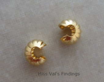 100 crimp bead covers gold plated corrugated 4mm