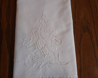 White EmbroideredRose Tea Towel, Crochet Trim