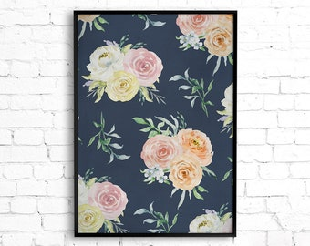 Floral Print Wall Art, Shabby Chic Wall Art, Boho Decor, Navy And Pink