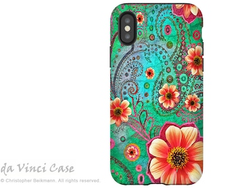 Teal Paisley Floral - Artistic iPhone X Tough Case - Dual Layer Protection for iPhone 10 - Green and Orange Floral Art - Paisley Paradise