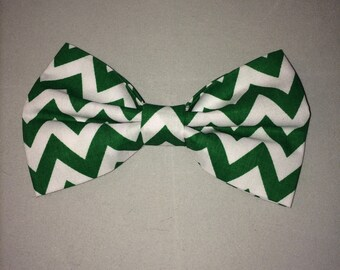 handmade green and white zig zag chevron bow tie