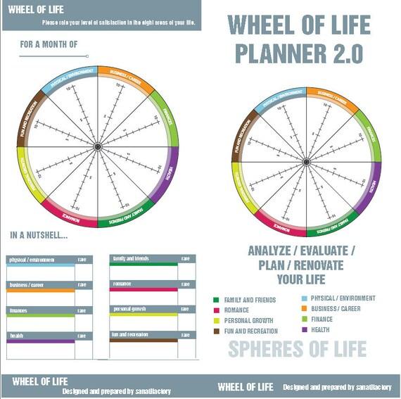 Life Balance Wheel Colorful Planner Midori Standard Size