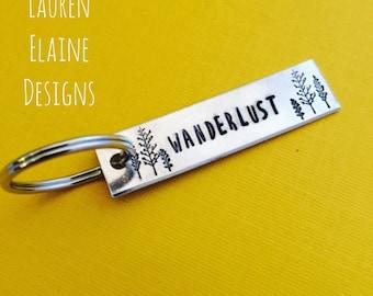 Wanderlust Keychain- Gift for Her, Gift for Him, Traveler Gift, Explore, Adventure