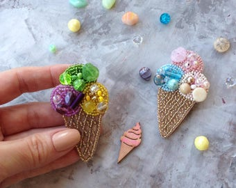 Ice cream brooch beads, Hand embroidered brooch, colorful brooch, Ice cream jewelry