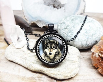 Tribal Wolf necklace spirit guide necklace white wolf totem amulet teenwolf necklace wolf pendant grey wolf necklace direwolf necklace