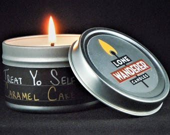 Caramel (Wedding) Cake - 4 oz Soy Candle - Metal Travel Tin with Lid - Treat Yo Self