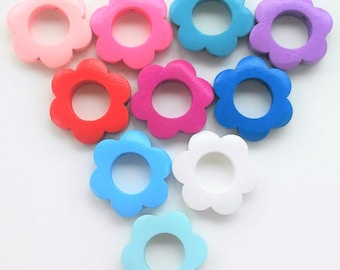 100 Color Wood flowers 26mm-100 assorted colors26mm wooden flowers-wooden flower beads-Nursing Necklaces-Pacifier Clips Beads