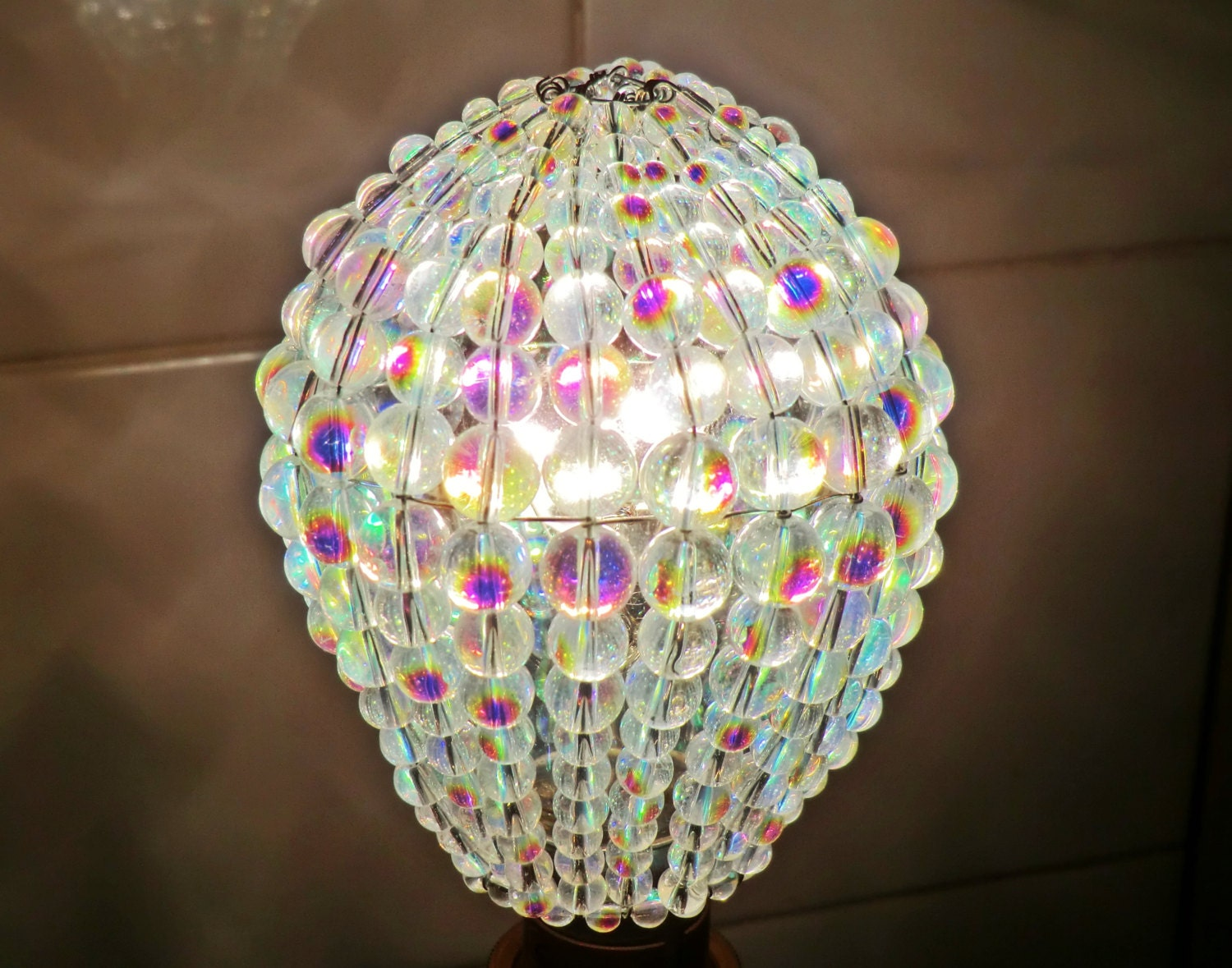 Crystal chandelier inspired aurora borealis ab glass lightbulb gls crystal chandelier inspired aurora borealis ab glass lightbulb gls bulb cover sleeve pendant lamp better than lamp shade light drops beads arubaitofo Image collections