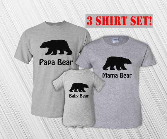 Bear theme papa bear and baby bear matching dad & baby t-shirt or bodysuit gift set - gift for new daddy Christmas or Father's Day MDF1-013 AqwNsE