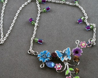 New Lower Price Enameled Butterfly n Flower pendant crystal necklace