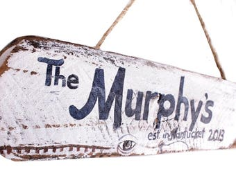 Custom Family Name Beach Sign Nautical Blue White Whale on Reclaimed Distressed Wood Beach Nursery Surf Baby Nursery Beach Cottage Decor