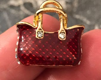 3 beautiful burgundy/deep red/wine color enamel handbag charms with rhinestone sides and front rhinestone accents