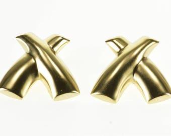 14k High Relief X Criss Cross Post Back Earrings Gold