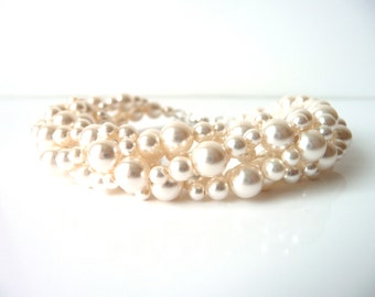 Multi Strand Pearl Bracelet, White or Ivory Pearl, Wedding Jewelry, Bridal Bracelet, Bridesmaid, Mother of The Bride, Beaded Jewelry