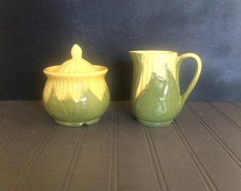 Vintage Shawnee Corn King Creamer 70 and Sugar Bowl 78~1946-1954 Shawnee Sugar and Creamer Set