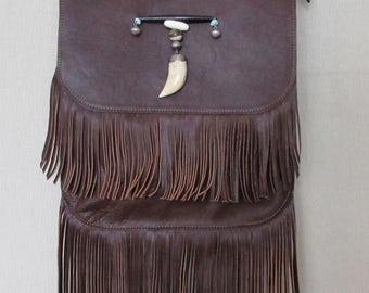 Cross body brown leather fringe bag