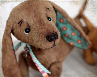 Artist Teddy dachshund OOAK chocolate brown