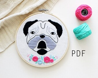 Pug Dog Embroidery Pattern, PDF Download, Printable Stitching Pattern, Modern Embroidery Pattern, Needlecraft Design, Hand Embroidery PDF